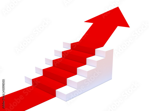 Steps with red carpet arrow pointing up
