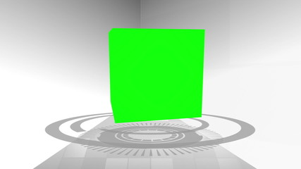 Montage of green screens in a cube