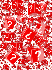 Red dice with question marks fall from the sky