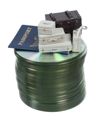 Suitcases and Passport on Computer Disks