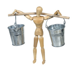 Carrying Silver Buckets Balanced on a Pole