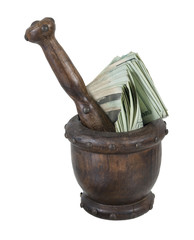 Mortar and Pedestal Full of Money