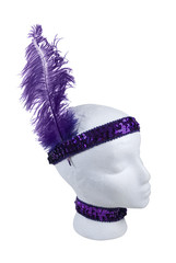 Sequin Choker and Headband with Feather