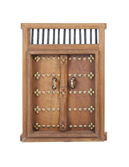 Wooden Castle Door with Brass Details
