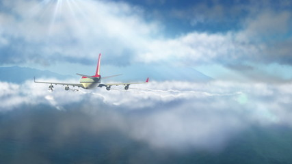 animated intro with airplane flying over clouds