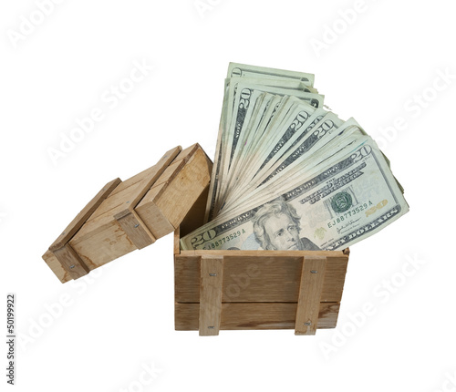 Wooden Crate Full of Money