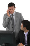 Businessman taking a troubling phonecall