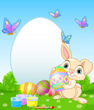 Easter Bunny painting Easter Eggs