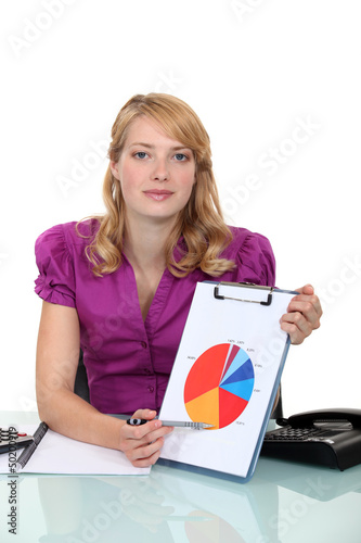 Woman pointing to pie-chart