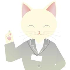 スーツの猫の女性 指を指す