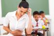 female teacher feeling sick