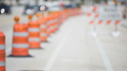 Stock video footage of construction barricades