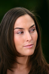 Head-shot of pensive brunette