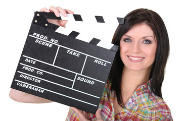 Woman with movie slate