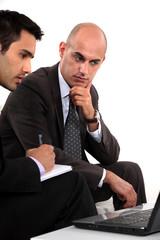 Two businessmen problem solving