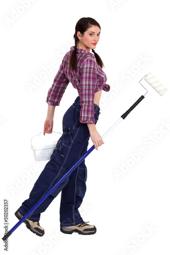 Attractive decorator using paint-roller