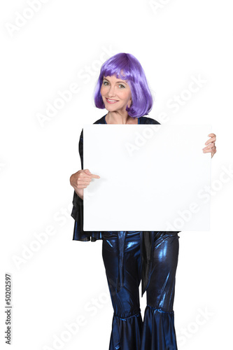 Woman with purple wig