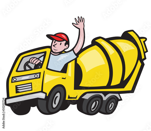 Construction Worker Driver Cement Mixer Truck