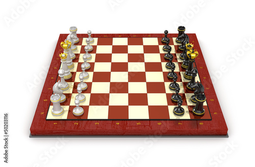 Chess pieces board. All pieces in starting position