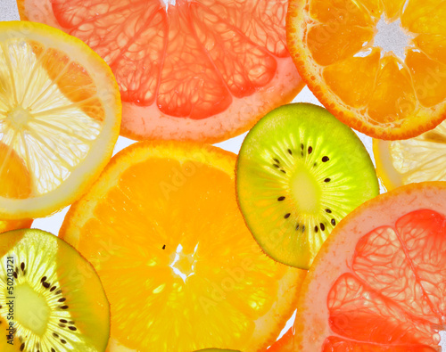 Sticker sliced fruits