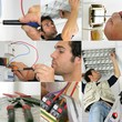 Photo-montage of an electrician at work
