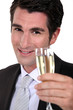 businessman drinking champagne