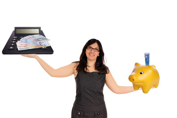 Business woman with piggy bank and calculator