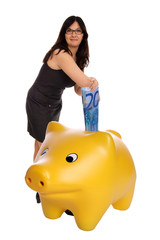 Woman based on a piggy bank