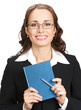 Young businesswoman with notepad, isolated