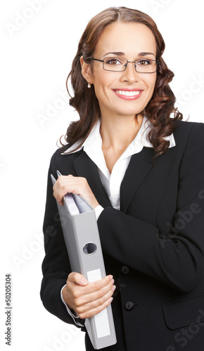 Businesswoman with grey folder, isolated