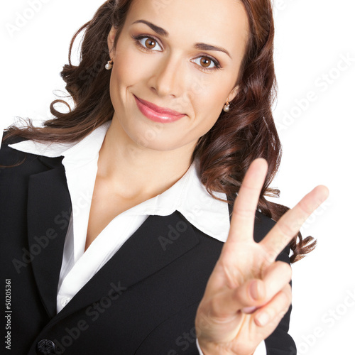 Woman showing two fingers, isolated