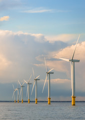 Wind farm generators at sea