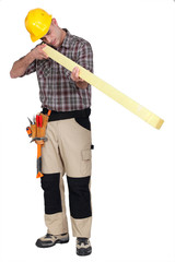 carpenter with plank