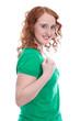 Powerfrau - erfolgreiche junge Frau mit roten Haaren isoliert