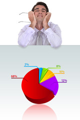 Happy businessman standing by pie-chart