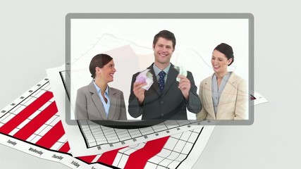 Interface showing business people with graph on background