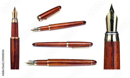 set of gold fountain pen nib isolated on white background
