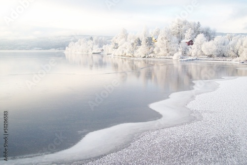 canvas print picture Winter am Fjord