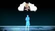 Digital figurines revealing graduate students into clouds