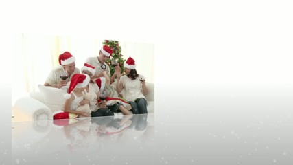 Montage of family celebrating christmas