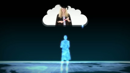 Digital figurines revealing graduate students into clouds