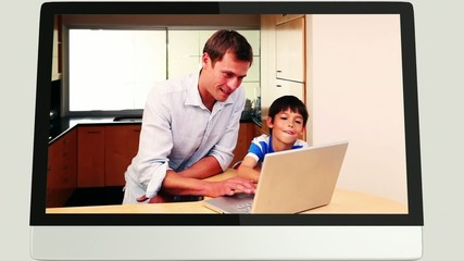 Screens revealing family using laptop