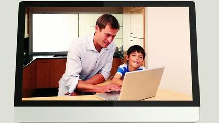 Screens revealing family using laptop