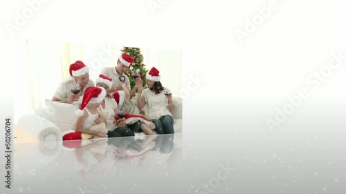 Montage of family celebrating christmas
