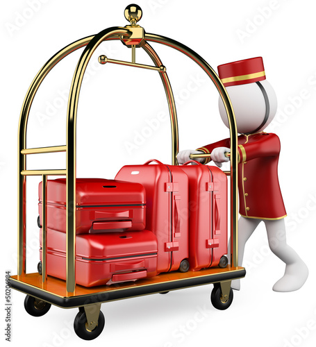 3D white people. Hotel luggage cart