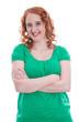 Mutiges junges Mädchen mit roten Haaren isoliert