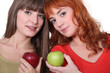 Two women with apples