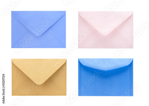 set of blank envelopes isolated on white background