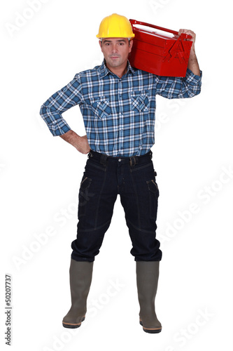 Workman with a tool box