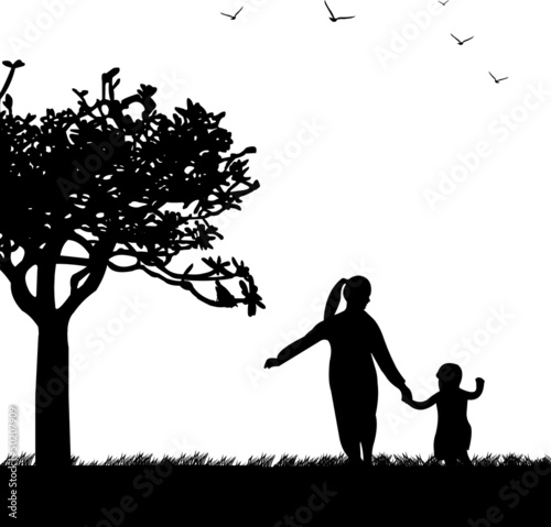 Mother's day celebration between mother and daughter silhouette
